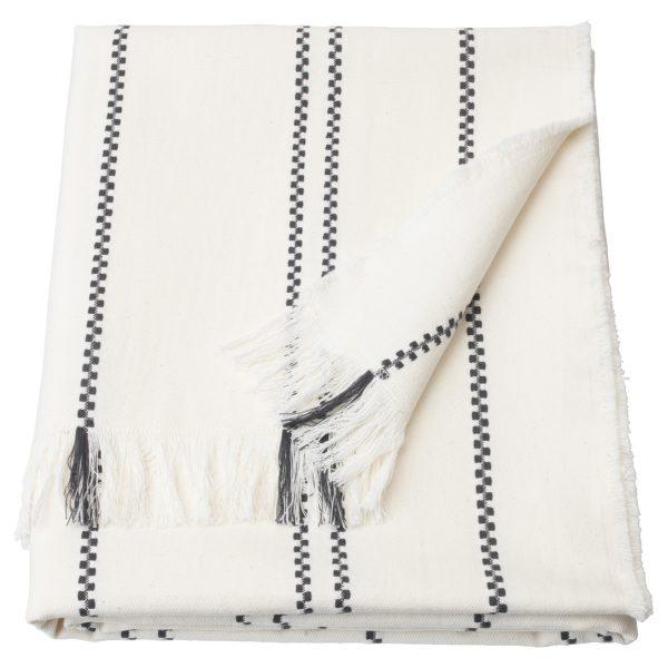 Scandinavian style white and dark grey throw blanket