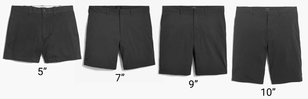 men's shorts inseams