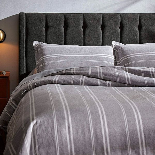 gray white stripe duvet cover