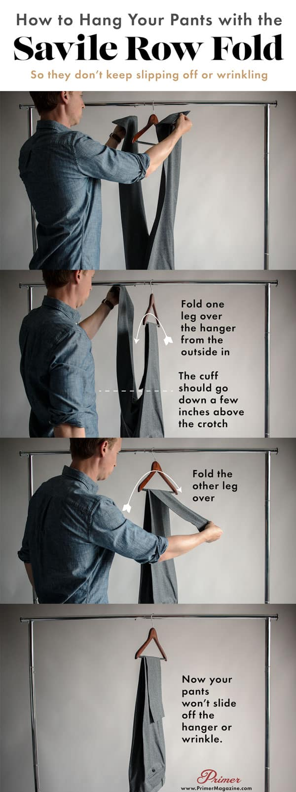 how to hang pants with the savile row fold so they don't wrinkle or fall off
