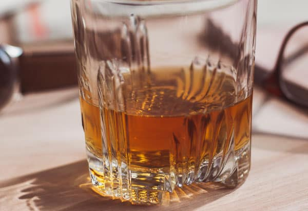 scotch whisky in glass close up