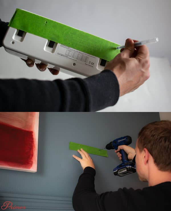 use a tape guide when drilling holes