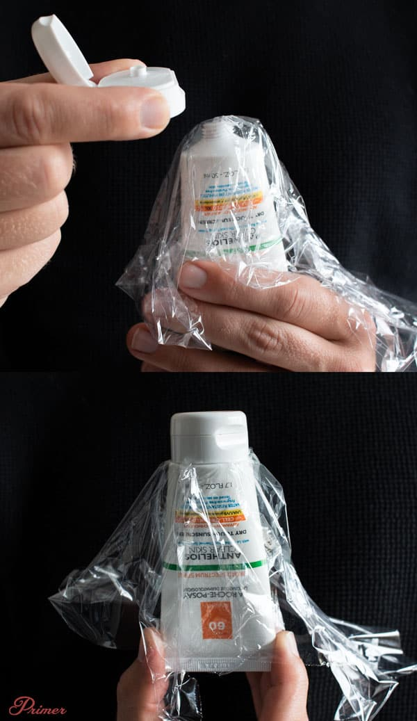 use plastic wrap on toiletry bottles so they don't leak while traveling