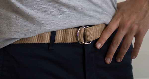 d ring webbed belt men khaki