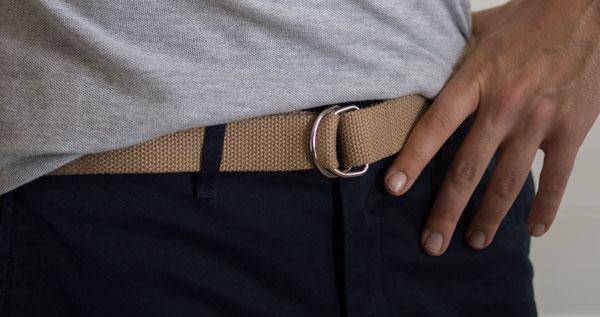 d ring webbed belt men khaki