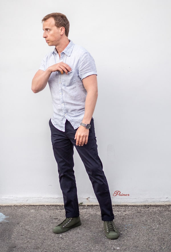 men summer outfit short sleeve shirt navy chinos olive high top sneakers