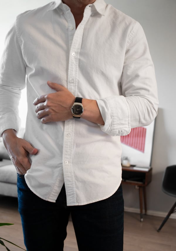 dress watch white shirt jeans