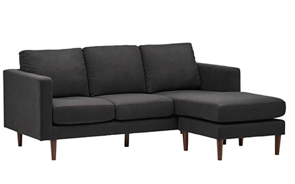 """Rivet Revolve Mid-Century Modern Reversible Chaise Sectional Sofa Couch, 80""""W, Storm Grey"""