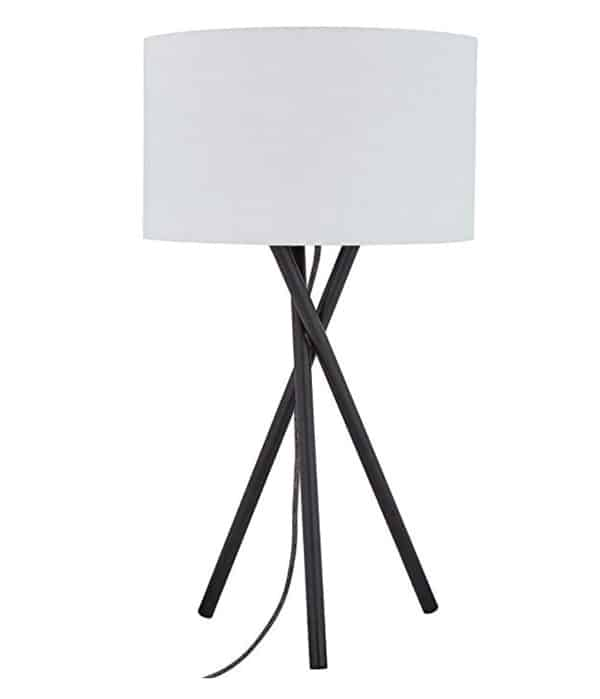 Rivet Black Metal Tripod Table Lamp, 26.5