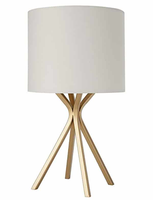 Rivet Gold Bedside Table Desk Lamp with Light Bulb - 10 x 10 x 18 Inches, Linen Shade