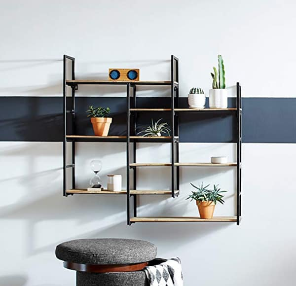 "Rivet Modern Wood and Metal Floating Wall Storage Shelves - 37.25""W x 36.25""H, Natural and Black"