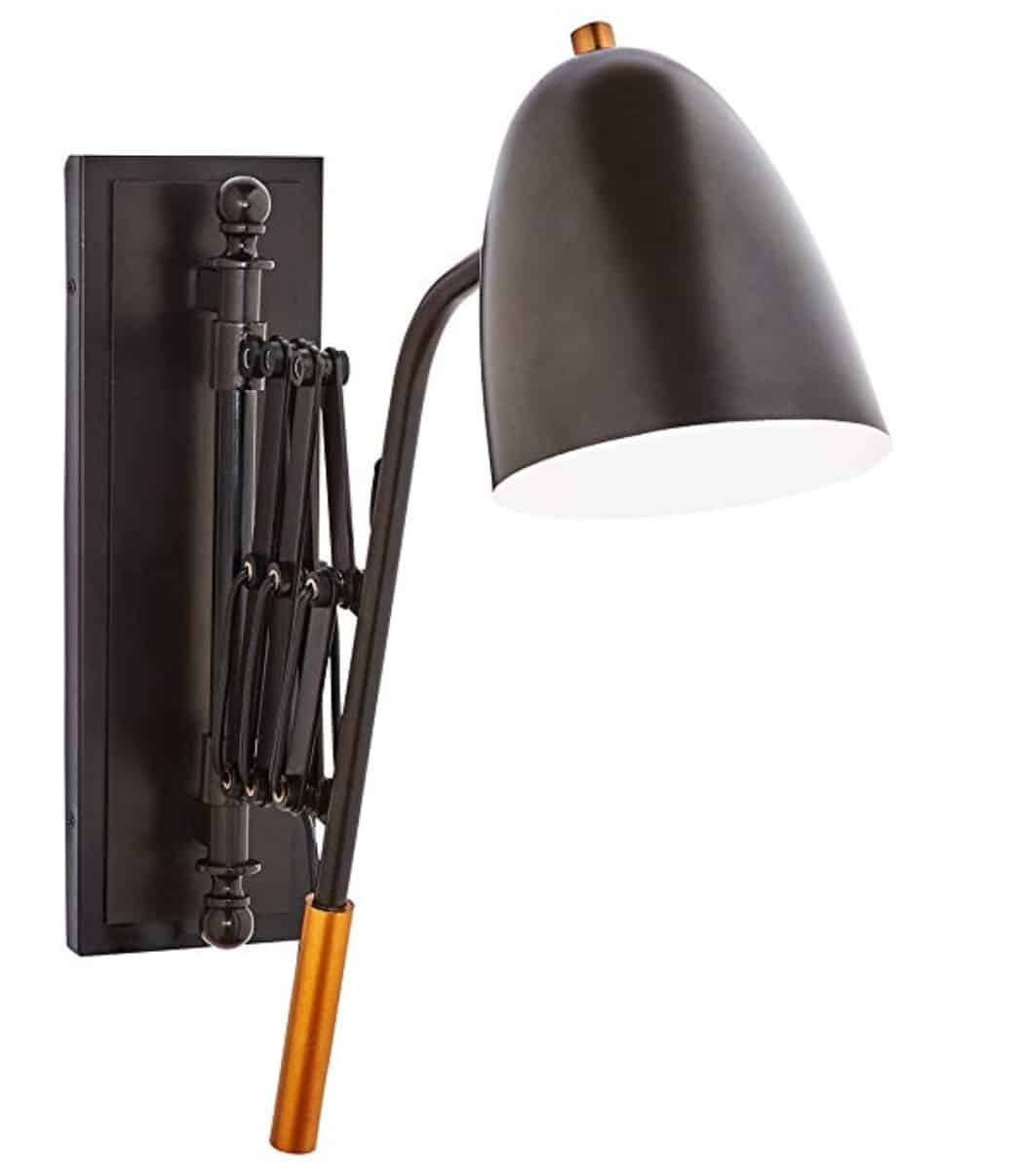 Stone & Beam Deco Black Accordion Arm Wall Mount Sconce Light Fixture with Metal Shade - 20 x 28 x 6 Inches, Dark Bronze with Brass Accent