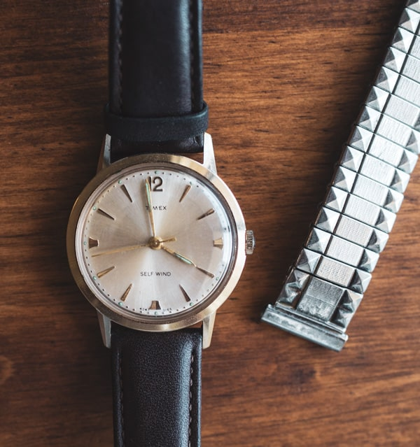 vintage timex watch with new leather strap