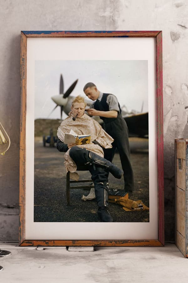 RAF pilot getting a haircut free print
