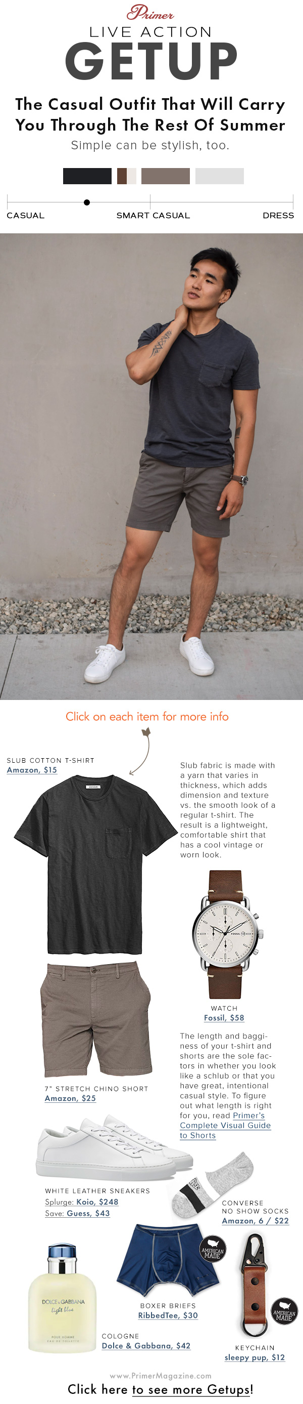 men summer outfit black tshirt brown shorts white sneakers the getup