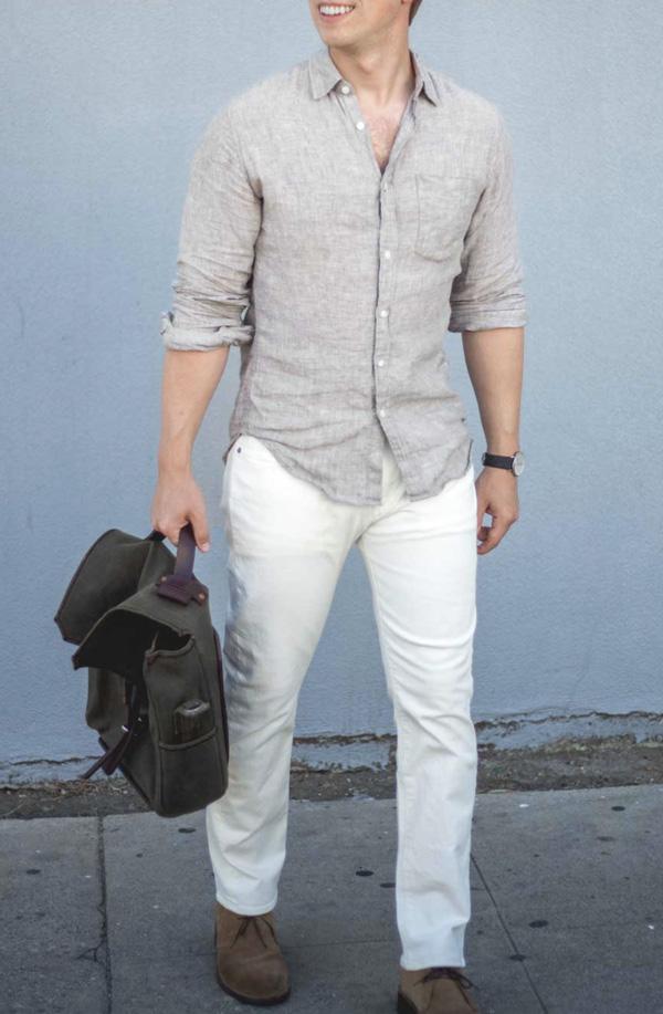 linen shirt white jeans