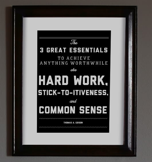 art print with hard work quote in frame