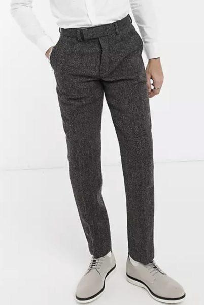 asos brown tweed dress pants