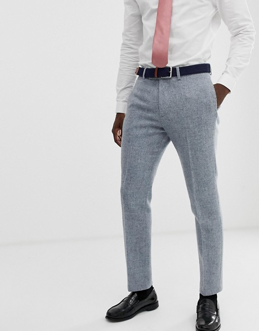ASOS DESIGN slim suit pants in 100% wool Harris Tweed in gray