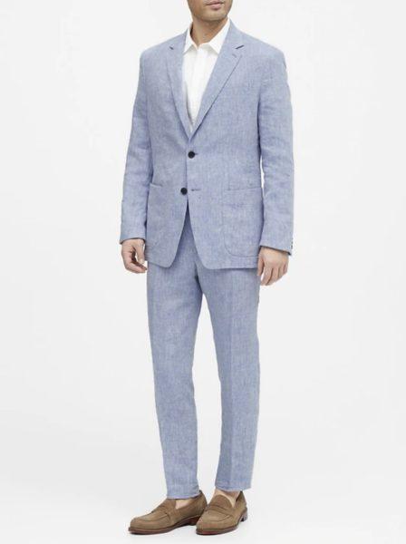 banana republic bright blue linen suit jacket and pants