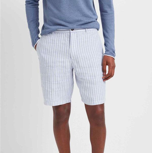 club monaco linen shorts blue stripe
