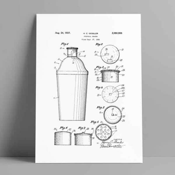 cocktail shaker patent poster