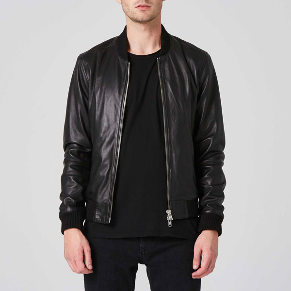 Mens Leather Bomber Jacket In Black