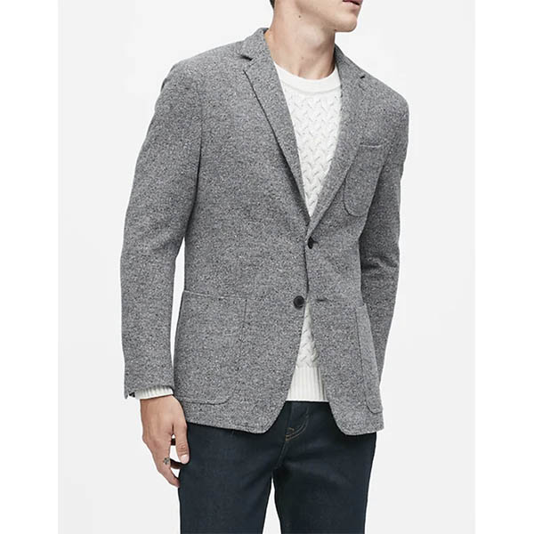 Slim Wool-Blend Knit Blazer