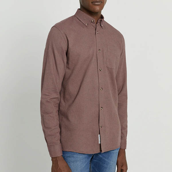 Cotton Textured Shirt in Maroon