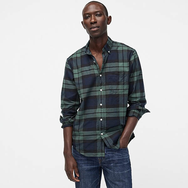 Slim American Pima cotton oxford shirt with mechanical stretch in plaid