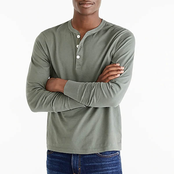 Long-sleeve broken-in henley