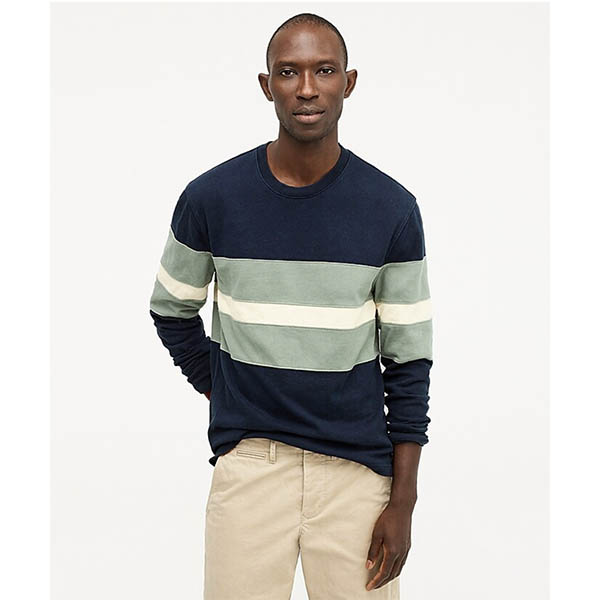 Rugby crewneck shirt in pieced stripe