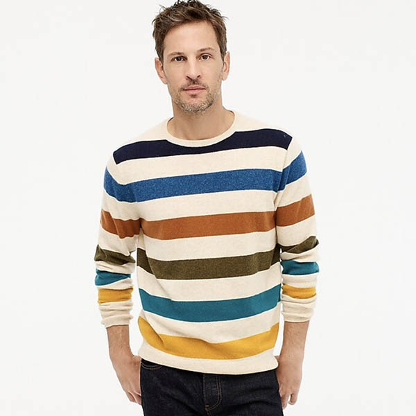 Everyday cashmere crewneck sweater in multicolor stripe