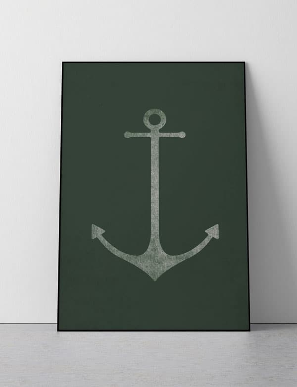 "Anchor Print, Available in Six Colors, with and without Text, 16"" x 20"""