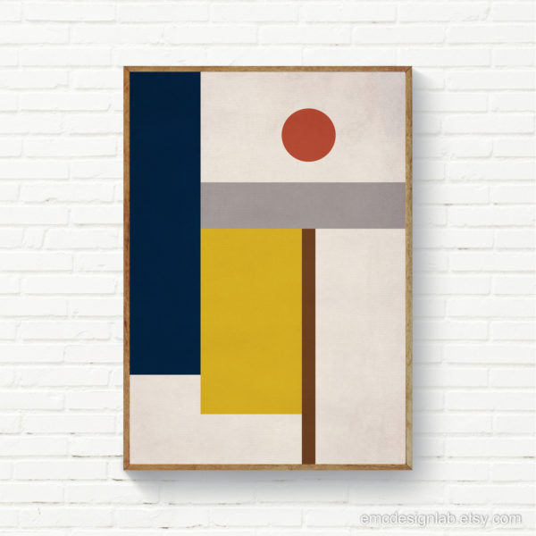 Geometric Abstract Composition Print, MidCentury Modern Wall Art, Navy Mango Burnt Orange, Downloadable Geometric Print