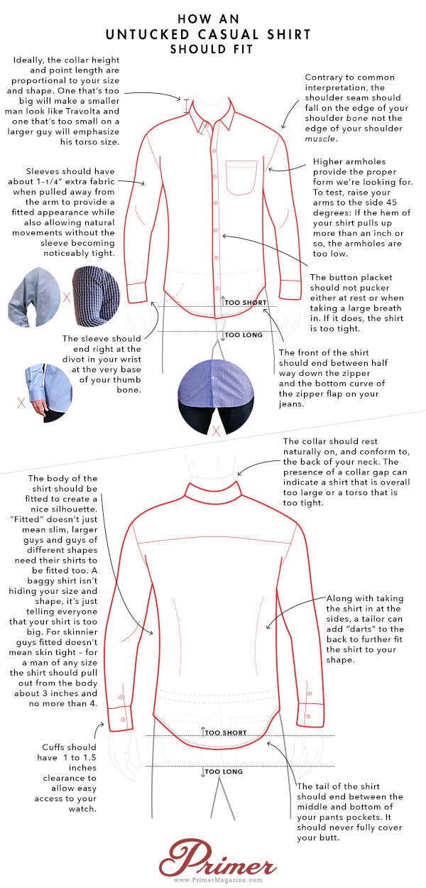 how an untucked shirt should fit fashion infograhpic