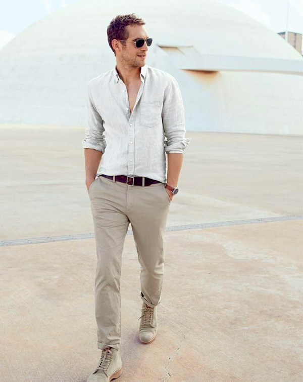 linen shirt men outfit with khakis
