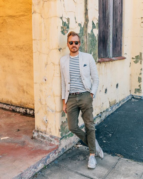 linen blazer with chinos