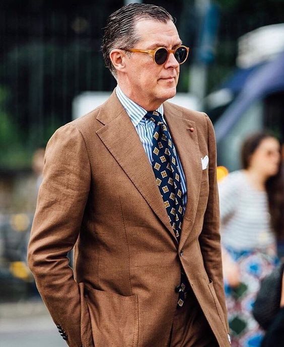 brown linen suit