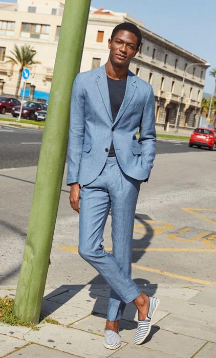 blue linen suit