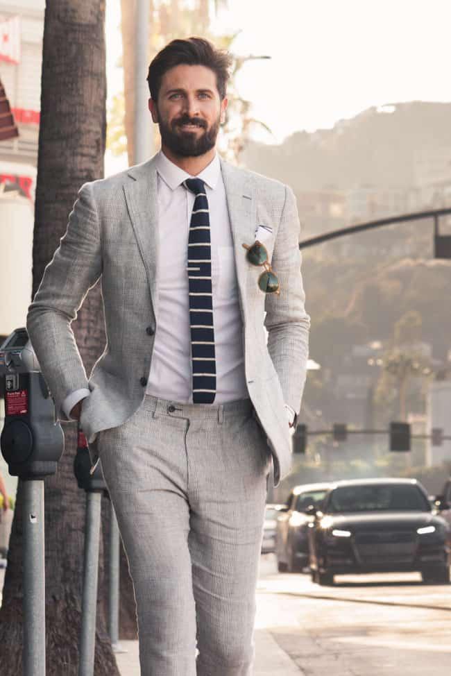gray linen suit