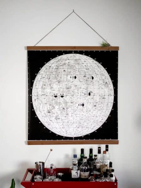 Map of the Landing Spots for the Apollo Missions with DIY Hanger Frame
