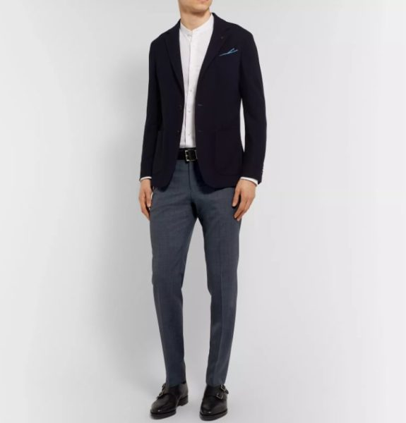 Hugo Boss Navy Genesis Slim-Fit Virgin Wool Trousers