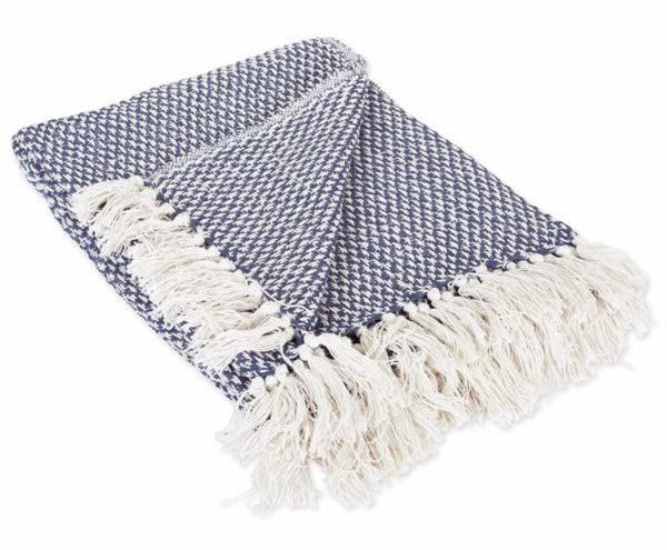 "DII 100% Cotton Basket Weave Throw for Indoor/Outdoor Use Camping Bbq's Beaches Everyday Blanket, 50 x 60"", Nautical Blue"