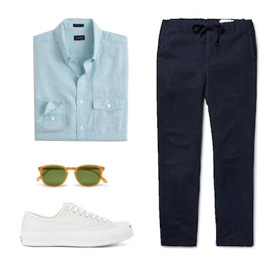 outfit idea with blue shirt and pants with white sneakers