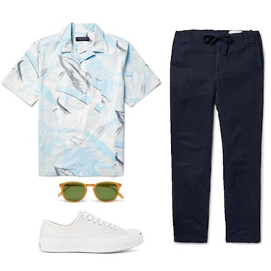 floral print with chinos