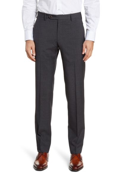 Parker Flat Front Plaid Wool Trousers