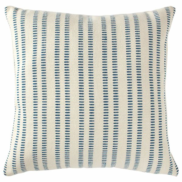 "Stone & Beam French Laundry Stripe Decorative Throw Pillow, 17"" x 17"", Ivory, Turquoise"