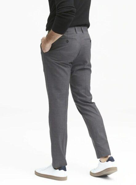 grey slim wool dress pants
