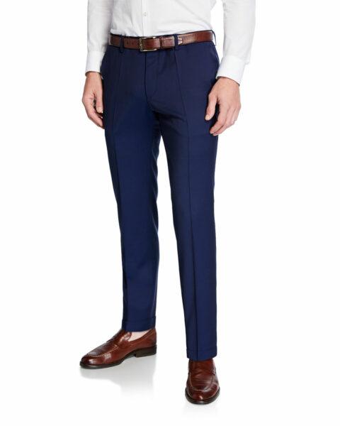 dark blue slim style wool trouser pants
